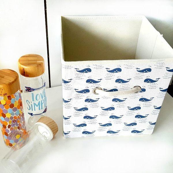 收納盒 【BNA031】可愛圖騰收納整理箱(22L) 刺蝟 鯨魚 文具 收納箱  123ok