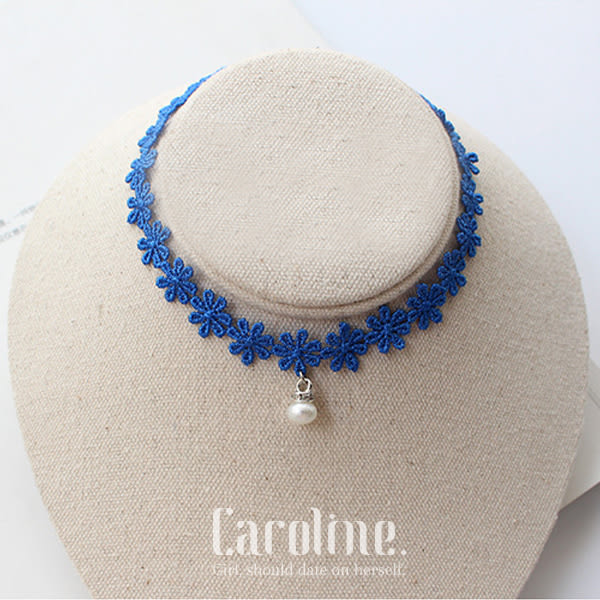 《Caroline》★韓風優雅藍色蕾絲雛菊簡約原宿短款設計簡約項鍊69402
