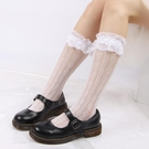 鏤空小腿網襪白色堆堆襪花邊
