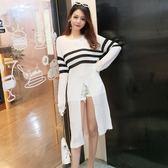 2018秋季新款韓版氣質中長款開叉條紋撞色長袖薄針織衫罩衫上衣女