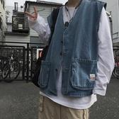 馬甲男.ins潮流復古水洗做舊大口袋牛仔馬甲背心外套 1件免運
