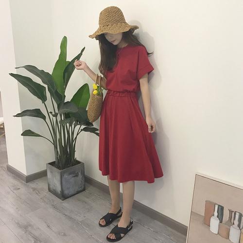 [超豐國際]夏季女裝仙女氣質短袖連衣裙女寬松復古中長款顯瘦收1入