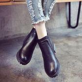 春秋季學生黑色圓頭高跟馬丁靴英倫風裸靴女鞋厚底粗跟短筒短靴潮 喜迎中秋 優惠兩天