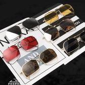 網紅墨鏡潮流眼鏡男女大紅色金屬方框多邊形不規則個性翻蓋太陽鏡『夢娜麗莎精品館』