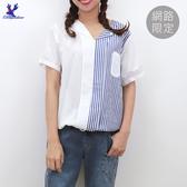 【春夏新品】American Bluedeer - 短袖拚接襯衫 二色