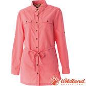 Wildland 荒野 女抗UV時尚長版襯衫 彈性纖維/顯瘦修身剪裁/防曬小罩衫/薄長袖 0A51211-78粉橘色