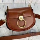 BRAND楓月 CHLOE 磚紅色 紅色 金釦 經典圓圈造型 TESS 斜背包 手提包