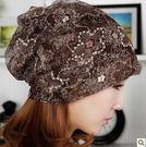 女薄款網紗頭巾圍脖包頭帽春夏季月子空調化療堆堆帽【中秋節】