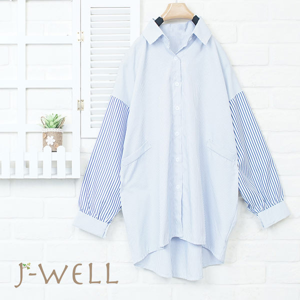 J-WELL 粗細條拼接假口袋襯衫 8J1466