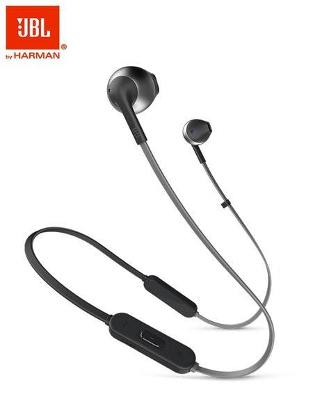 JBL T205 BT無線藍牙耳機半入耳式重低音耳麥運動跑步可充電超長