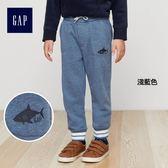 Gap男嬰幼童 logo刷毛束口褲 兒童彈力柔軟運動褲 358914-淺藍色