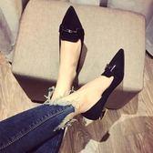 低跟女鞋絨面尖頭粗跟女單鞋舒適百搭工作鞋