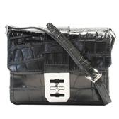 MICHAEL KORS 黑色壓紋牛皮銀釦肩背包 Mini Shoulderbag 【二手名牌BRAND OFF】