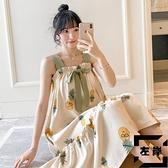 帶胸墊睡裙女夏季純棉長款吊帶睡衣薄款家居服【左岸男裝】