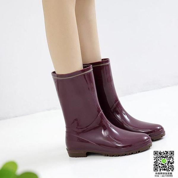 雨鞋日式雨鞋女成人中筒雨靴時尚水靴夏季膠鞋防滑水鞋套鞋