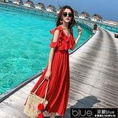 沙灘裙海邊度假裙沙灘裙紅色純色雪紡洋裝顯瘦設計感吊帶裙【全館免運】