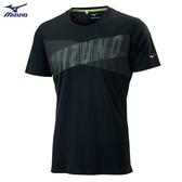 MIZUNO 男裝 短袖 T恤 SOLAR CUT 熱遮蔽 抗紫外線 吸汗快乾 後領反光 黑【運動世界】J2TA000709