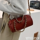 鍊條包復古鍊條手提包女包包2021新款網紅時尚圓筒包小眾設計側背斜背包 迷你屋 新品