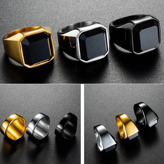《 QBOX 》FASHION 飾品【R20N681】精緻個性簡約方形鑲石鈦鋼戒指/戒環(三色)