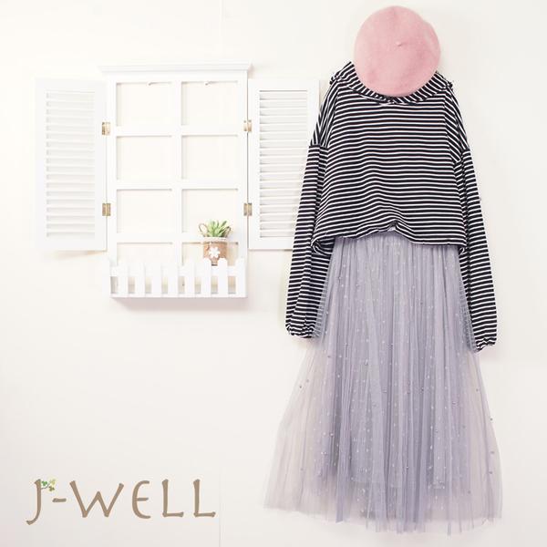 J-WELL 條紋連帽T網紗裙二件組(組合A461 9J1035黑底+9J1038灰)