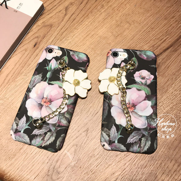 【SZ25】iphone 6s 手機殼 復古油畫花朵鏈條 iphone plus手機殼 iPhone 7/8 plus手機殼 iPhone 7/8 手機殼