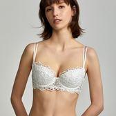 夏季薄款平胸小胸不空杯小底圍65abc水溶蕾絲文胸布谷內衣