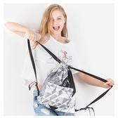 防水袋 新品印花雙肩背包拉鏈外袋抽繩包防水束口袋休閑抽帶包 俏女孩