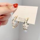 耳環 S925銀針韓國東大門仙氣水鉆簡約大氣花朵耳釘時尚優雅圓圈耳環女 晶彩 99免運