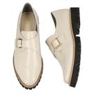 【ORiental TRaffic】皮帶釦飾厚底樂福鞋-簡約白