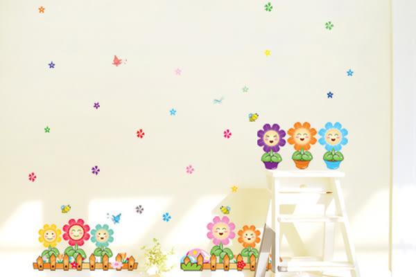 第三代可移動壁貼 牆貼 時尚創意組合壁貼 創意壁貼 背景貼 向日葵花圃 307《生活美學》