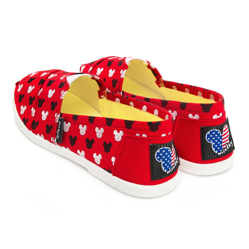 DISNEY 可愛滿點 滿版米奇印刷懶人鞋-紅