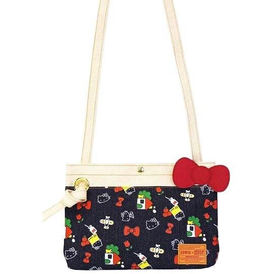 〔小禮堂]Hello Kitty EDWIN 牛仔布扣式扁平斜背袋《藍紅.滿版》斜背包.側背袋 4548643-13031