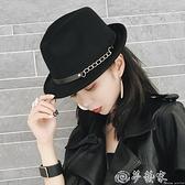 紳士帽 韓國秋冬英倫帽子時尚復古毛氈呢禮帽小沿卷邊男女士錐頂爵士帽潮 夢藝