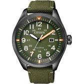 【送米奇電扇】CITIZEN 星辰 Eco-Drive 光動能飛行員手錶-綠/43mm AW5005-21Y