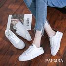 PAPORA基本款繫帶休閒小白鞋板鞋輕便鞋KM095黑/綠(偏小)