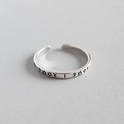 AR737-1韓國泰銀復古希臘古典字母文字戒指指環開口925純銀戒指-米莎misha
