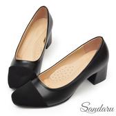 訂製鞋 小香風微方頭復古中跟鞋-黑色下單區