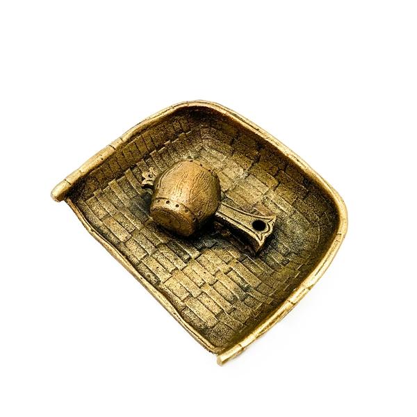 日本銅器【高岡銅器】畚箕寶槌 線香香立 和雲製 純銅香爐 精緻擺飾香塔沉香檀香燻香薰香氛