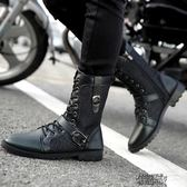 秋冬季馬丁靴黑色軍靴潮流正韓版男士皮靴中筒工裝鞋短靴高筒男靴子 街頭布衣