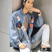 『潮段班』【HJ001933】日韓秋冬新款大力水手貼布字母嘻哈風潮流寬鬆牛仔夾克外套