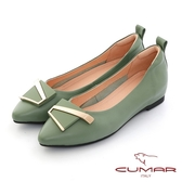 【CUMAR】金屬不對襯飾釦尖頭內增高平底鞋(綠色)