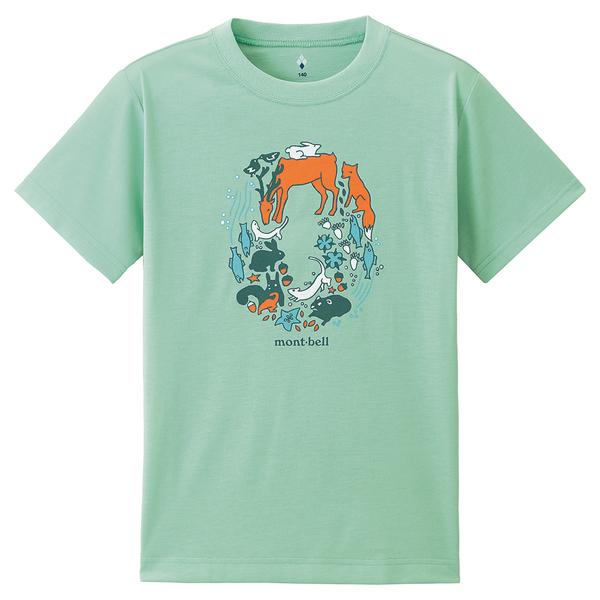[好也戶外]mont-bell WICKRON快乾T-動物環(童款)-海青 No.1114486-OCWV