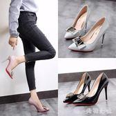 新款細跟超高跟鞋韓版單鞋女淺口尖頭扣飾低幫鞋工作鞋女鞋OB4843『美鞋公社』