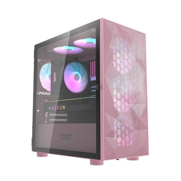 darkFlash DLM21 Mesh M-ATX 電腦機殼/機箱 鐵網版-粉色(不含風扇) DF01-0026