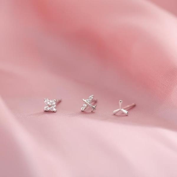 三葉草飛機花朵耳釘 925純銀睡覺免摘耳骨釘冷淡風秀氣耳飾女