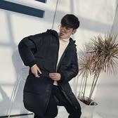 夾克外套-連帽冬季保暖中長版純色夾棉男外套73qa46【時尚巴黎】