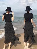 不規則波點半身裙女韓版高腰顯瘦中長款蛋糕裙荷葉邊雪紡仙女長裙 多色小屋