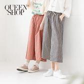Queen Shop【04060296】經典配色格紋抽繩棉麻寬褲 兩色售*現+預*