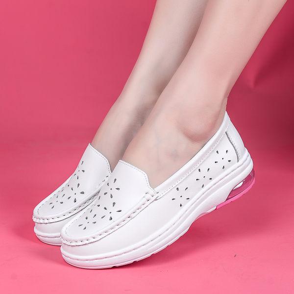 棉鞋醫院護士鞋白色女平底舒適防滑厚底楔形大氣墊鞋  可然精品鞋櫃