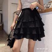 夏季復古時尚高腰層層荷葉邊蛋糕裙女純色百搭A字半身裙短裙 可可鞋櫃